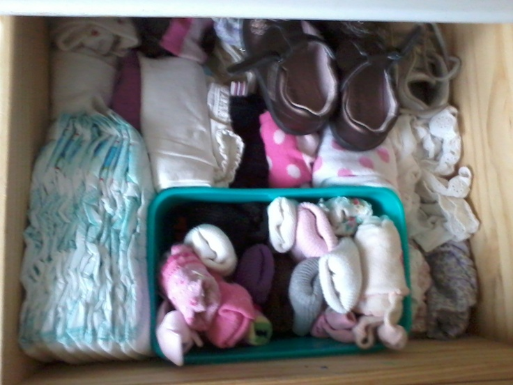 empty baby wipes box -- perfect size for corralling tiny socks