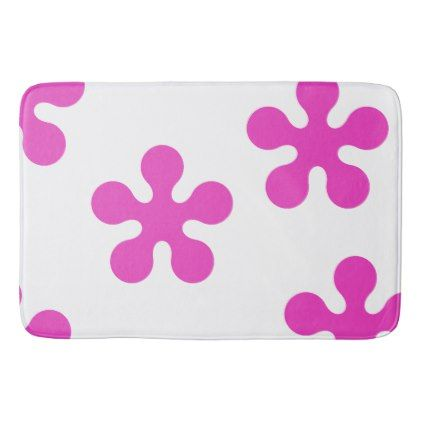 Pink Bath Mat - Retro Flower Collection - flowers floral flower design unique style