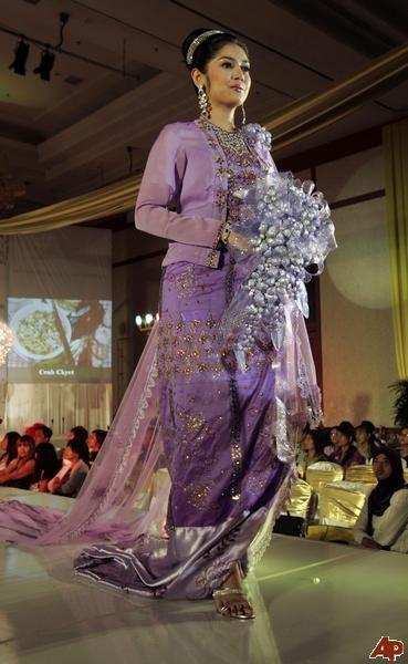 Myanmar Wedding Dress Purple