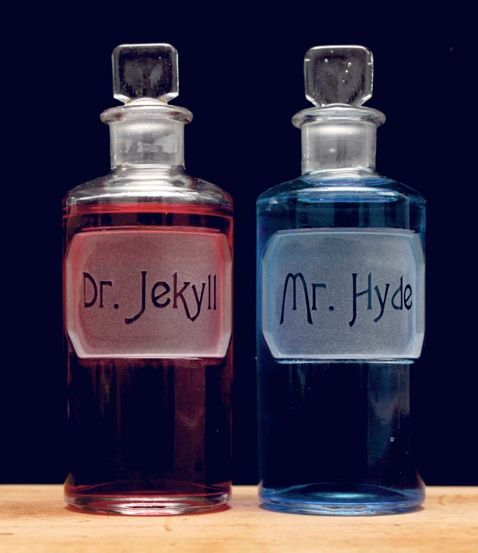 jekyll & hyde ... morning mouthwash for the bathroom ... Hmmm, who do I want to be today? (I need to find out how to make these and then use Harry Potter potion names instead)