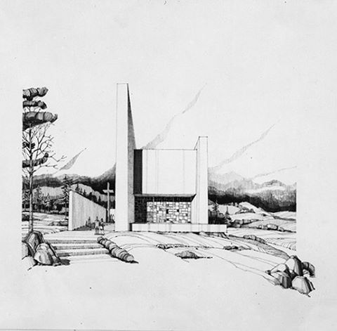 WEBSTA @ sordo_madaleno - 1963- Perspectiva a mano de la Capilla Santa Elena por Juan Sordo Madaleno | #TBT #JuevesDeArchivo #BeforeRenders #Handmade #Modernism #Architecture #SantaElena #Chapel #SordoMadaleno