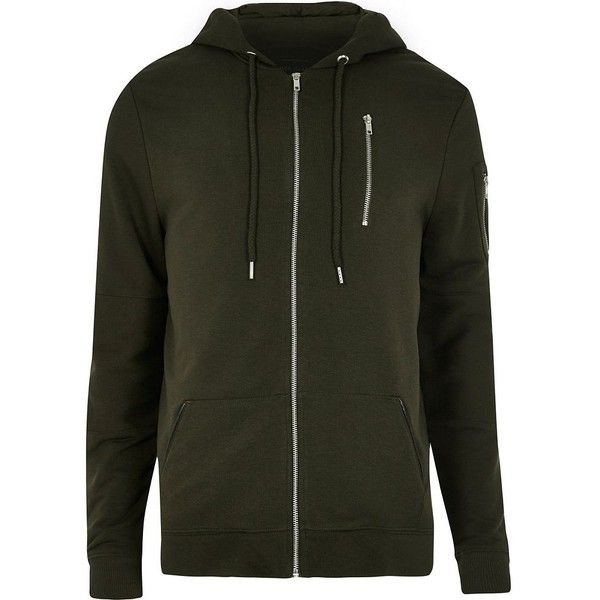 River Island Dark green zip hoodie (4405 RSD) ❤ liked on Polyvore featuring men's fashion, men's clothing, men's hoodies, green, hoodies, mens tall hoodies, mens zipper hoodies, mens zip up hoodies, mens sweatshirts and hoodies and mens hoodies