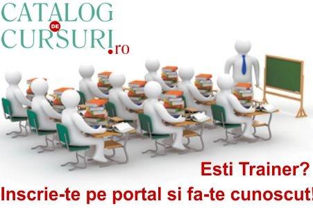 Pentru promovarea personala dar si a cursurilor pe care le oferiti, va recomandam sa va inscrieti pe cel mai complex portal de cursuri si dezvoltare personala http://www.catalog-cursuri.ro/PacheteServiciiTraineri.html