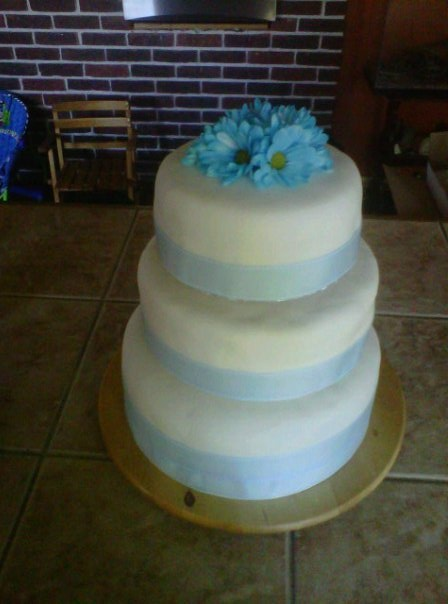 Simple And Soft Blue White Wedding Cake Custom Flavours For Each Tier