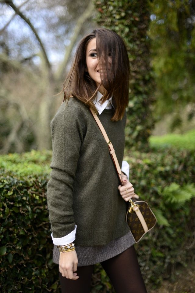 Preppy fall layered sweater and tights via Britta Nickel