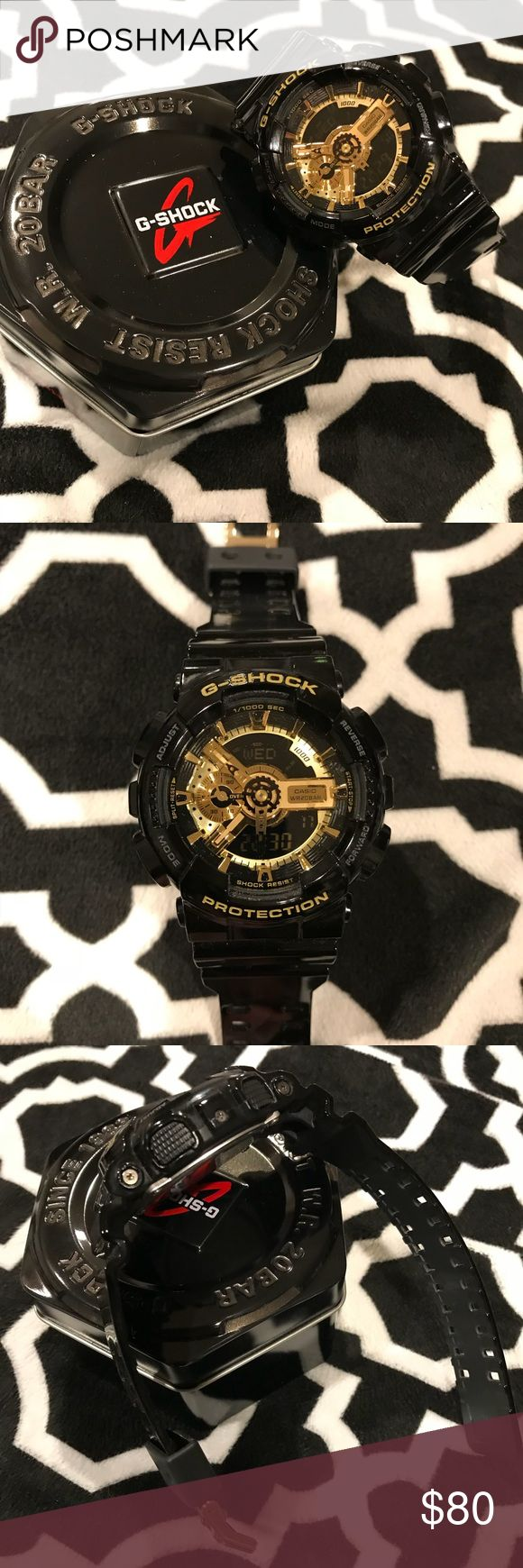 Casio G Shock Gloss black band and face with stunning gold. Watch is in awesome condition. Casio Accessories Watches