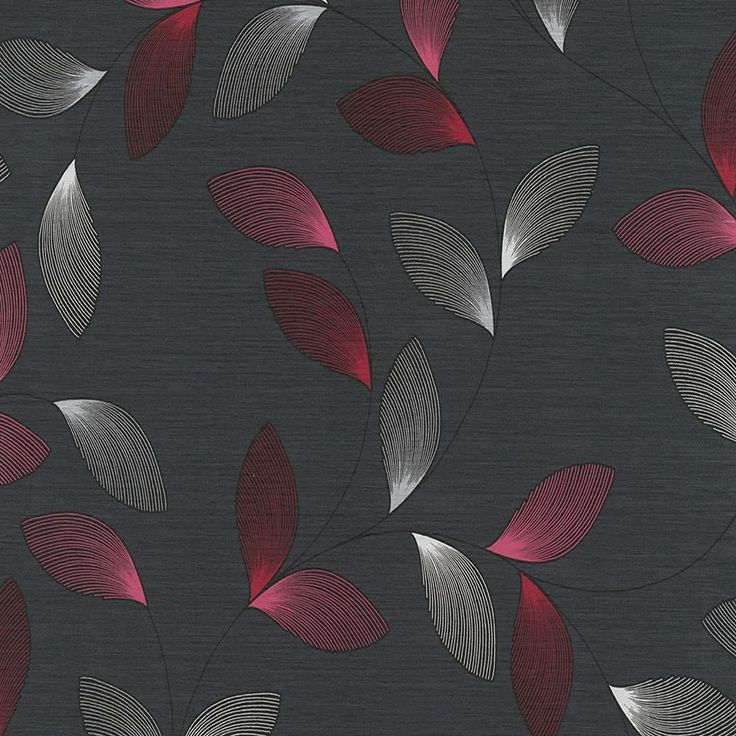 Black And Silver Floral Wallpaper Black Pink Silver 93753 3 Chicago Feather Leaf