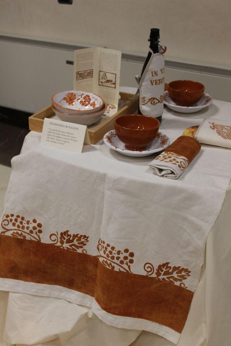 Tovaglia di tessuto di #canapa Stamperia Ruggine - Antica Fiera della Canapa #Gambettola 22 Novembre 2014