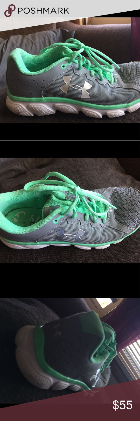 Under Armour Running shoes This mint green and gray under armour shoes are soft and comfortable. worn once and in great condition! Under Armour Shoes Athletic Shoes