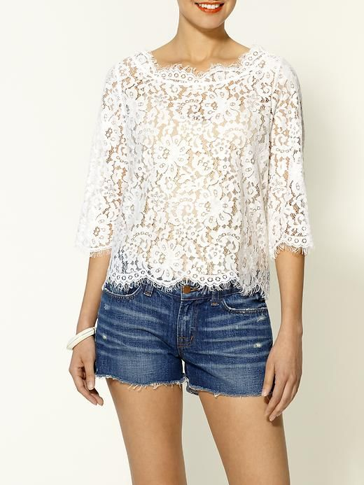 Joie Elvia Lace TopJoie Lace, Fashion, Style, Late Night Snacks, Elvia Lace, Joie Elvia, Denim Shorts, White Lace Tops, Lace Shirts