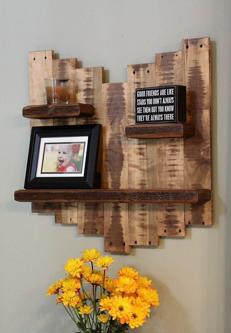M s de 20 ideas incre bles sobre estantes de pared r stico - Decoracion en madera rustica ...