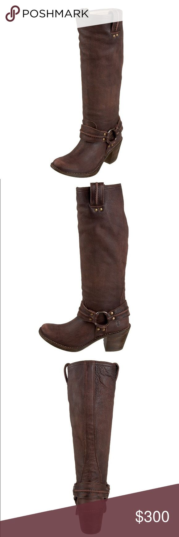 FRYE Women's Carmen Tall Harness Boots Nearly perfect condition - purchased brand new, worn once but I just don't wear heels anymore so these beauties are sitting in their box on my closet. They are very comfortable and look fab with anything you wear! Frye Shoes Heeled Boots