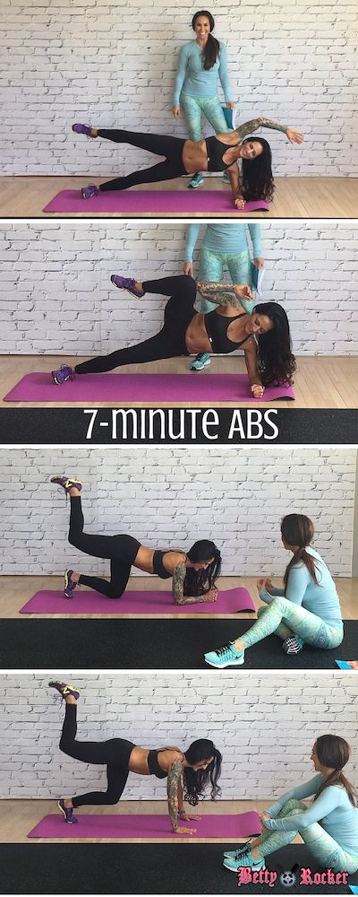 7-minute abs workout video with Betty Rocker and Natalie Jill Fitness!