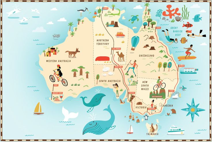 Illustrated map of Australia for The Daily Telegraph by Nate Padavick (idrawmaps.com)