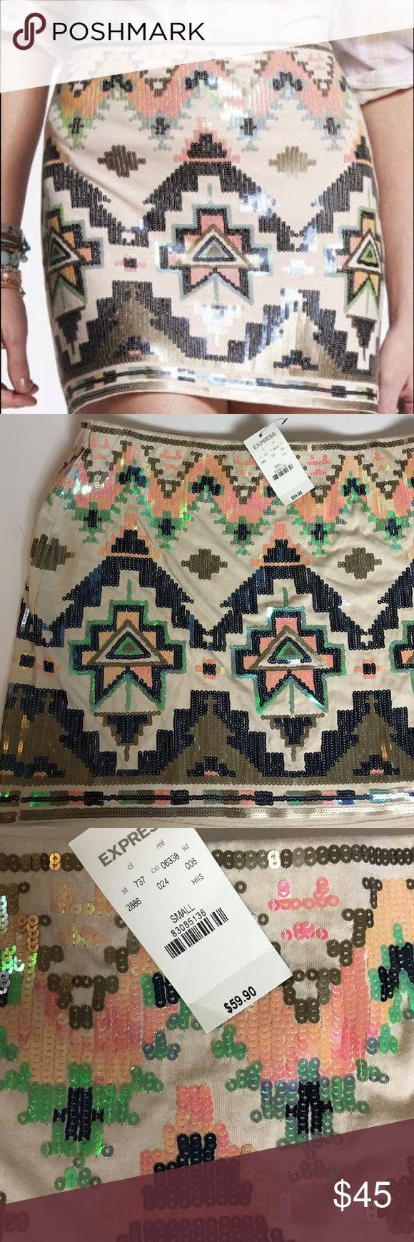 NWT! Express Aztec Sequin Skirt NWT! Beautiful Aztec sequin skirt. Super cute 😍 Express Skirts Mini