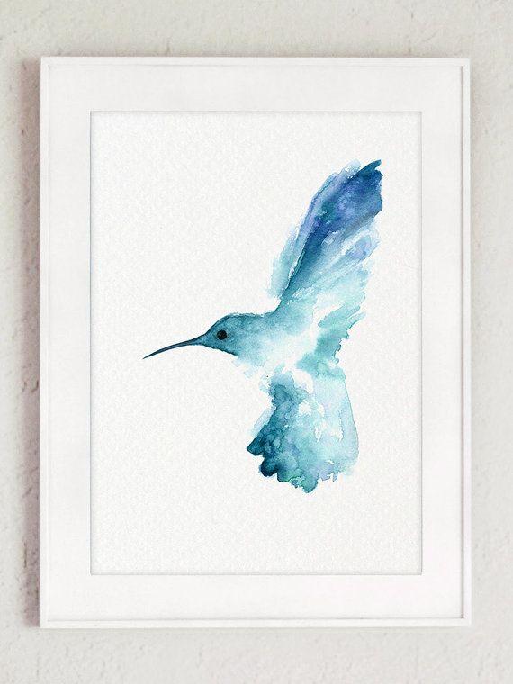 Hummingbird Watercolor Painting, Blue Bird Wall Decor, Nature Animal Painting, Birds Garden Art Print