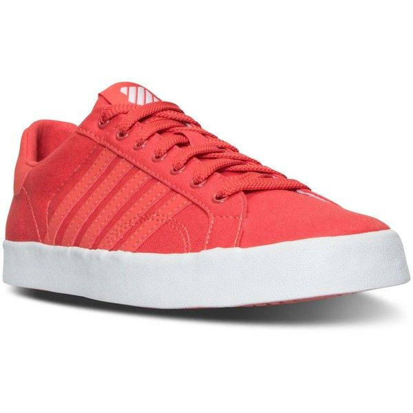 K-Swiss Women's Belmont So T Sherbert Casual Sneakers from Finish Line ($40) ❤ liked on Polyvore featuring shoes, sneakers, plimsoll shoes, k swiss sneakers, bright sneakers, k swiss footwear and bright shoes