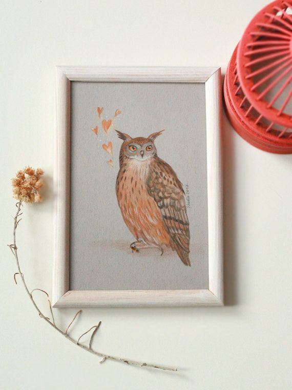 Picture with owl in love valentine gifthome decorowl by SkadiaArt