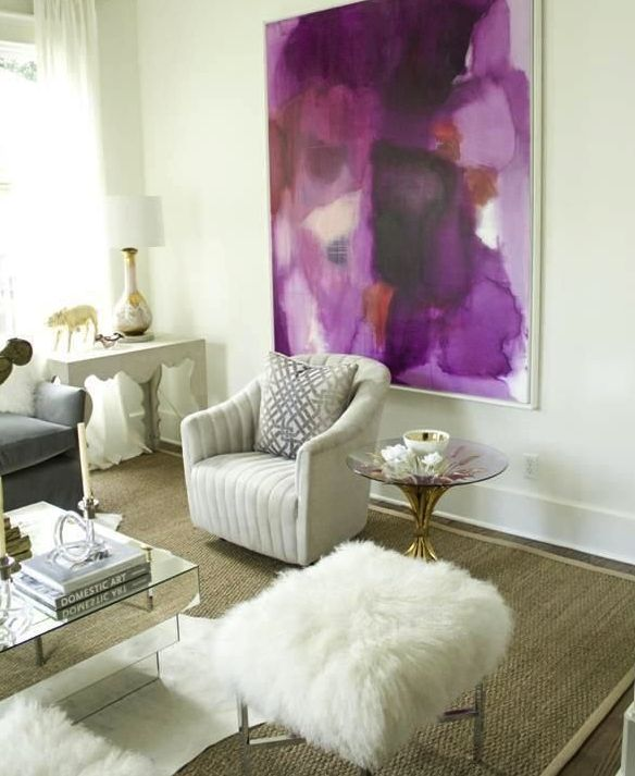 Bright wall art and white decor! PANTONE Color of the Year 2014 - Radiant  Orchid decor