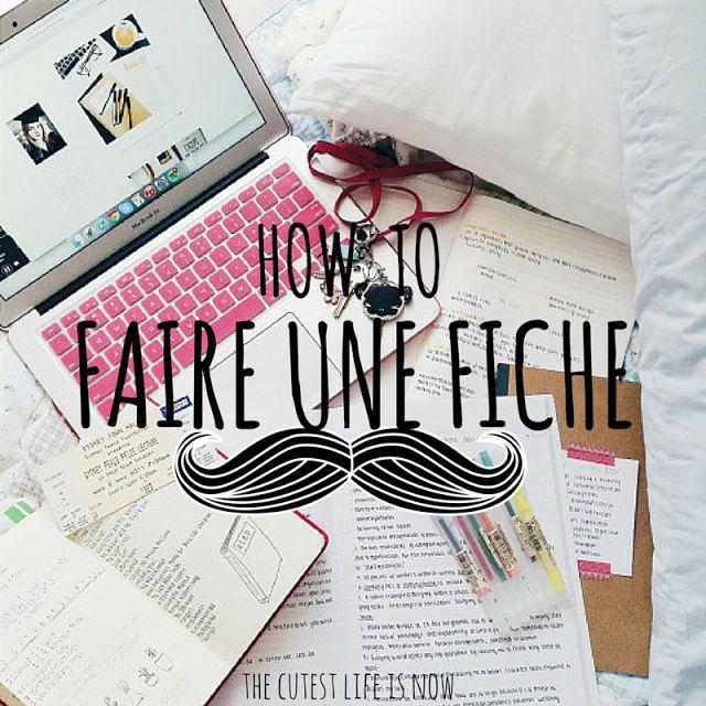The Cutest Life Is Now: How To #1 - Faire Des Fiches De Révision
