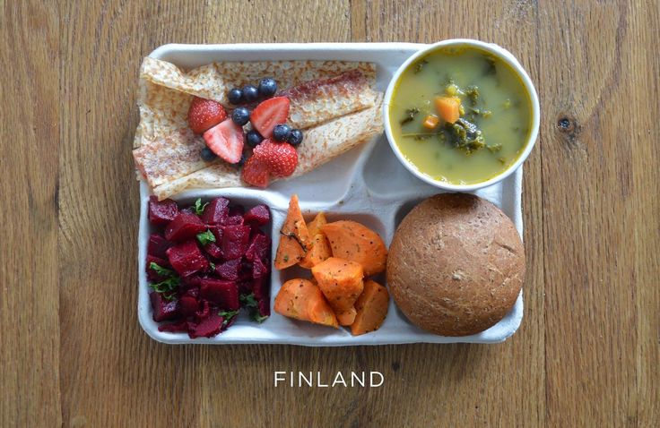 Provided by The Huffington Post School from Finland - Pea soup, beet salad, carrot salad, bread and pannakkau (dessert pancake) with fresh berries.