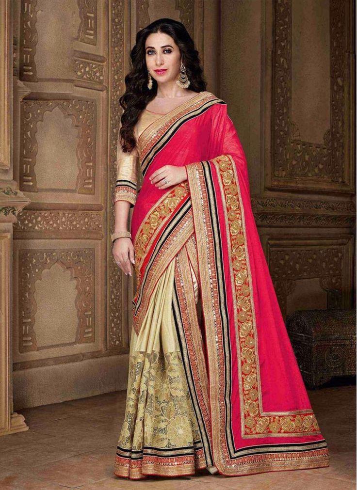 Karishma Kapoor Cream and Hot Pink Faux Chiffon Party Wear Bollywood Saree