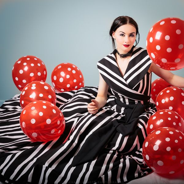 Black and white striped cotton 1950's wrap style gown. Model: Skylar Leigh