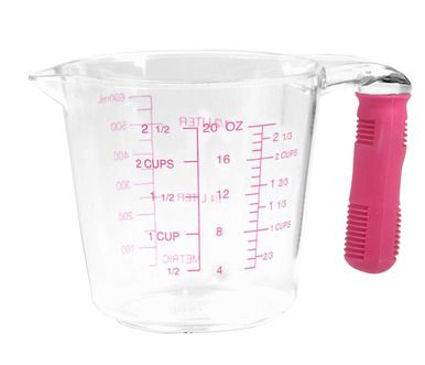 Plastic Measuring Cup with Red Silicone Handle Scale Cups Baking Tools 600ml