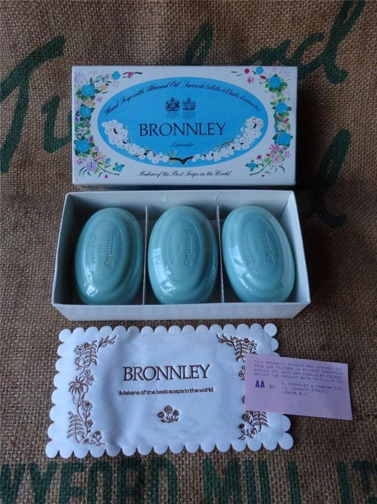 VINTAGE BRONNLEY LONDON LAVENDER SOAP X 3 X 85G 9OZ BOXED AND SEALED SOAPS