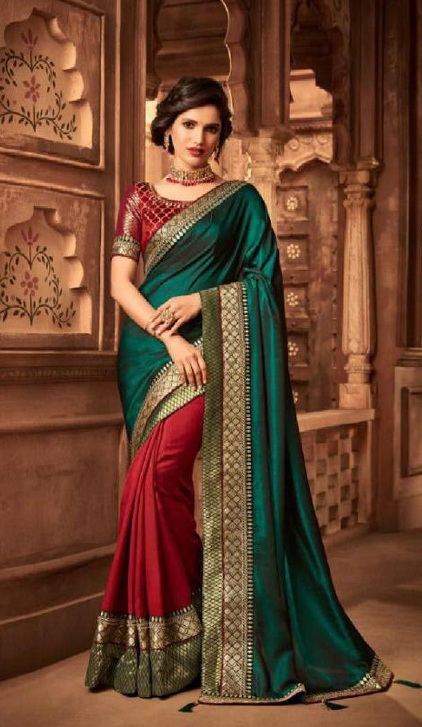 860aacc158 Two Tone Green Color Silk Heavy Embroidery Traditional Saree Valentine's  Special 55% OFF Sale #sarees #saris #traditionalsaree #heenastyle  #designersarees ...