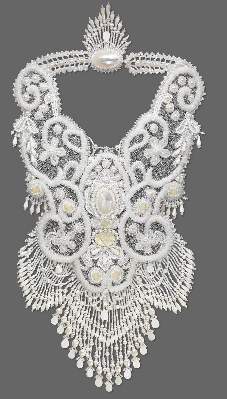 Bib-Style Necklace with Seed Beads, Mother-of-Pearl Cabochons and Cultured Freshwater Pearls by Betty Stephan