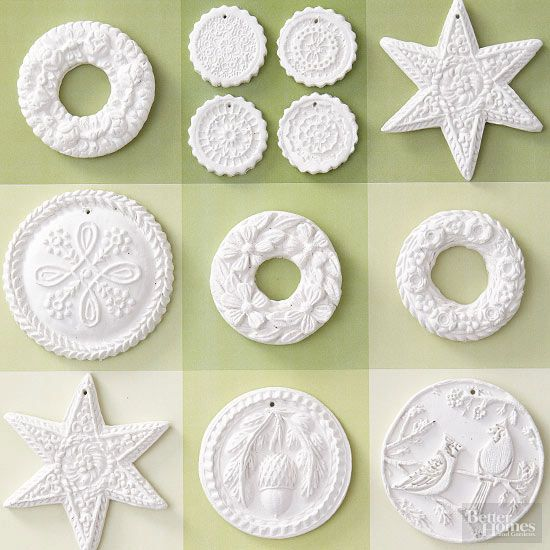 Delightfully detailed, these snowy-white ornaments take just minutes to make. Simply press air-dry clay onto Christmas cookie molds to imprint natural motifs and seasonal shapes. Trim as needed, and add holes at the top of each before drying. To hang, thread a ribbon or string through each hole./