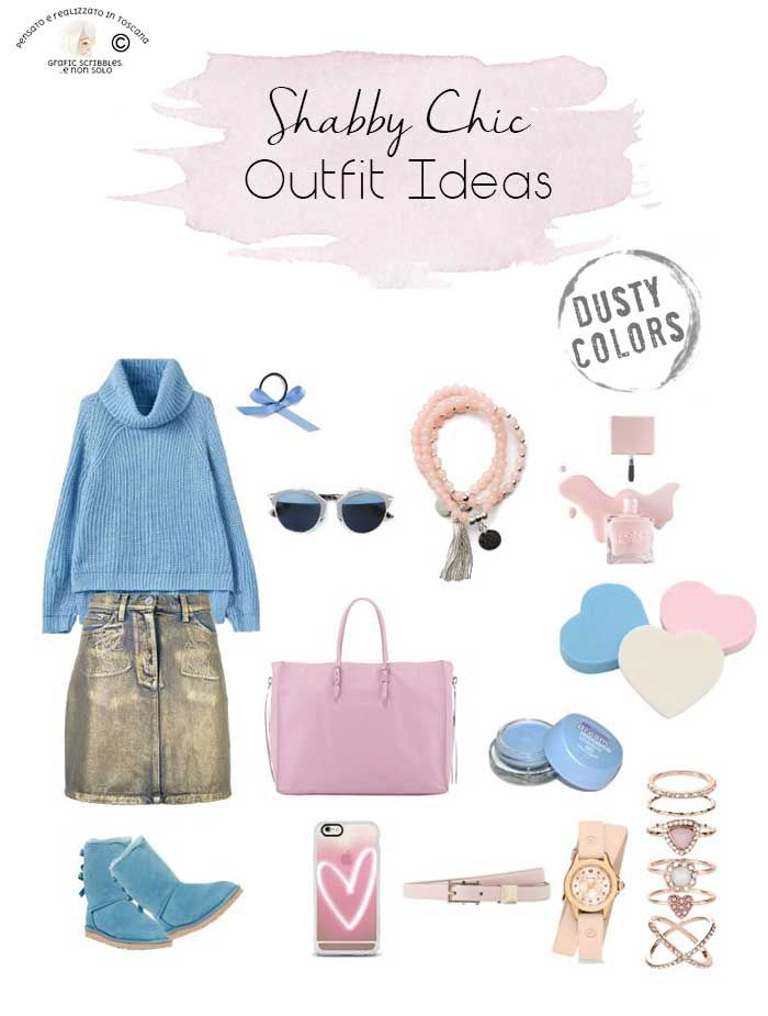 COLOR PALETTE ROMANTICALLY SHABBY - SHABBY CHIC OUTFIT IDEAS http://graficscribbles.blogspot.it/2016/09/palette-colori-shabby-chic-idee-outfit.html #colorpalette #shabbystyle #outfit