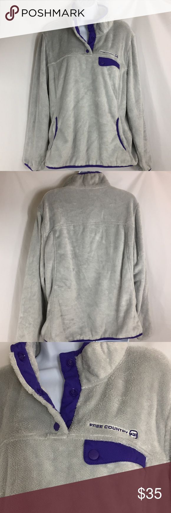Free Country Micro Plush Jacket Size XXL NWOT NWOT Light gray and purple  Hand warmer pocket Snap pocket on chest Snap opening  Stretchy band around wrist and hem Please see pictures for materials, care and measurements. 7A Free Country Jackets & Coats