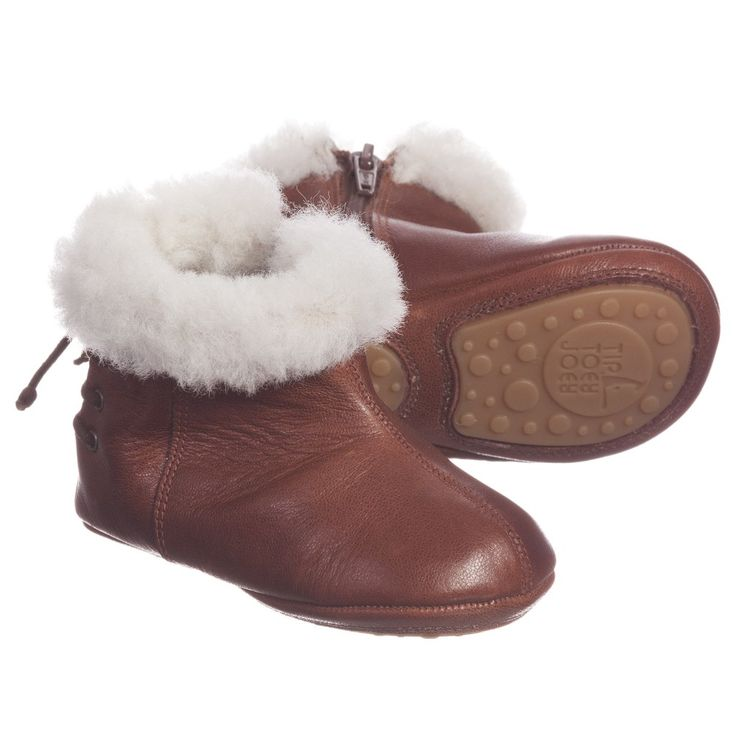 Tip Toey Joey Baby Girls Brown Sheepskin Cuff 'Mounty' Boots at Childrensalon.com