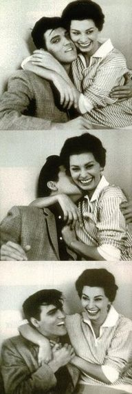 Elvis & Sofia Loren ♥ | For more old school love, click here--> https://www.pinterest.com/thevioletvixen/old-school-love/