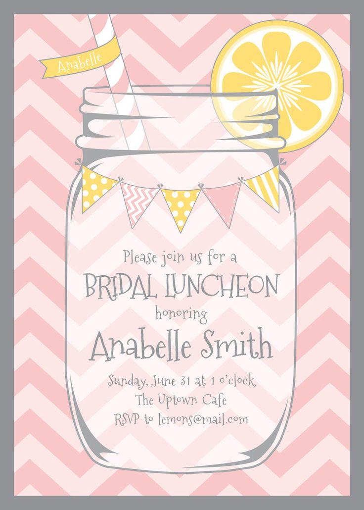 Lemonade Stand Party Invitation - Yellow Chevrons - Mason Jar - Bunting - Pink Lemonade Birthday Party Printable Invite - Bridal Shower -. $15.00, via Etsy.