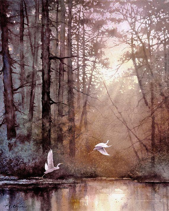 Landscape series 1 - Morning Delight - Watercolor, Egrets, Landscape, Sunlight, Waterfowl, Forest, Wildlife