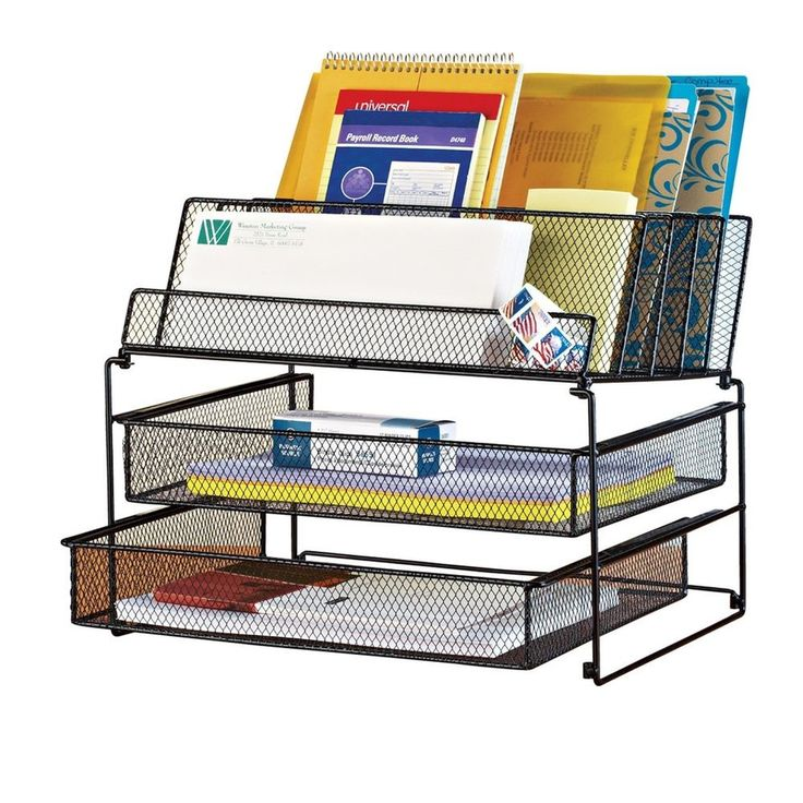 Black Mesh Desk File Organizer Vertical Tray Office Table Metal Stand Storage #CollectionsEtc