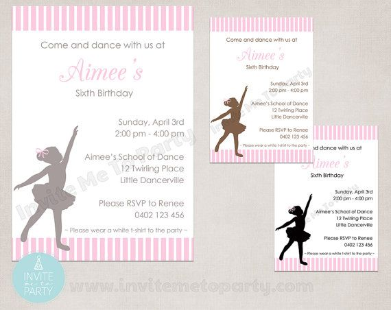 Ballerina Party Invitation / Little Dancer by InviteMe2Party