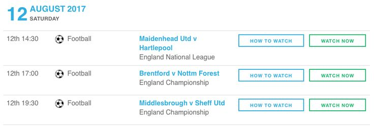 England National League and Championship live football streaming matches today.   - Maidenhead Utd v Hartlepool   - Brentford v Nottm Forest   - Middlesbrough v Sheff Utd