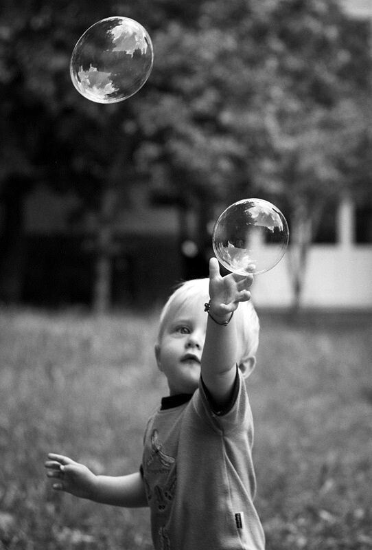 Catching  the bubbles.
