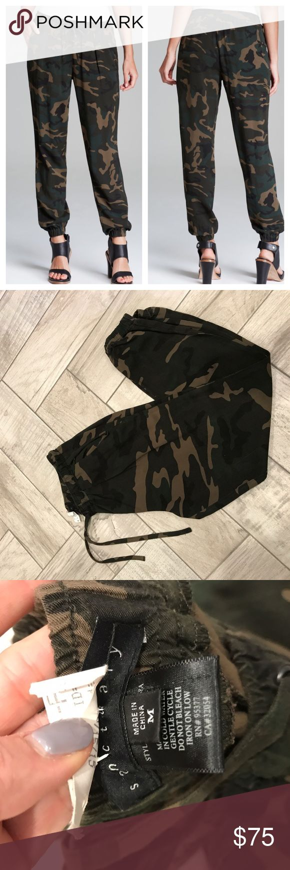 Sanctuary Camo Jogger Pants ❌NO LOW BALL offers❌ ✖️ no trades  🔵use offer button ✔️ price firm on items $25 or below ✔️please read descriptions and let me know if you need more info  Great used condition. Fit 27-29 best in my opinion. See press sheen from dry cleaner (will come out). Sanctuary Camouflage joggers are lightweight for summer and fall/winter trendy. Three seasons! Anthropologie Pants Track Pants & Joggers