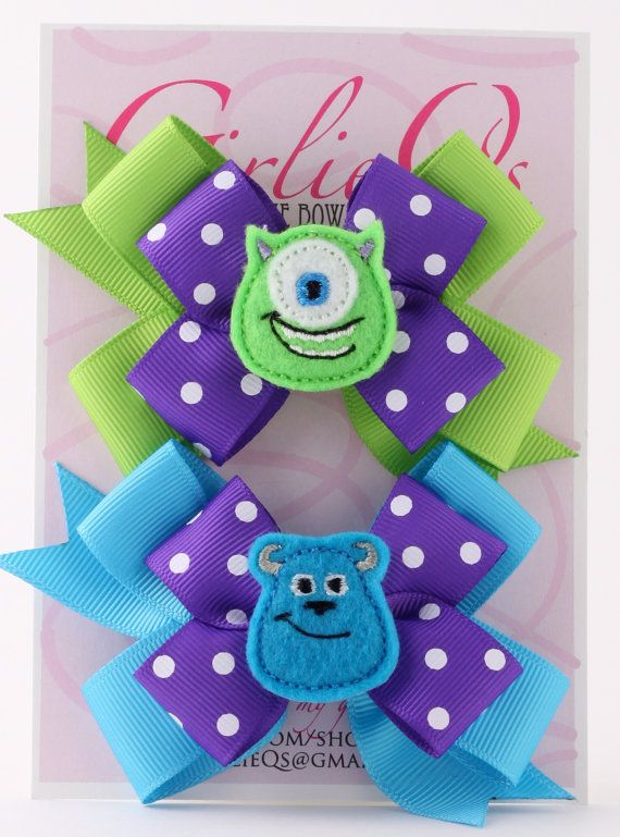 "Monster's University Mike Wazowski & Sulley Pigtail Ponytail Hair Bow Hair Clip 3.5"" x 3"" Disney Monster's Inc Sully"