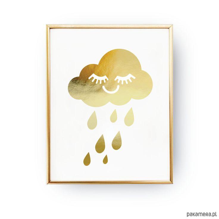 dodatki - plakaty, ilustracje, obrazy - grafika-Chmurka, Złoty Druk