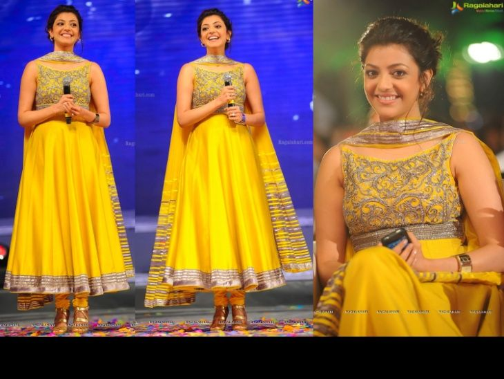 Kajal Agarwal at 'Naayak' Audio Launch in a Shantanu & Nikhil anarkali