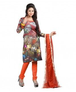 Bunny Sarees Gorgeous Orange Colour Digital Print Cotton Dress Material