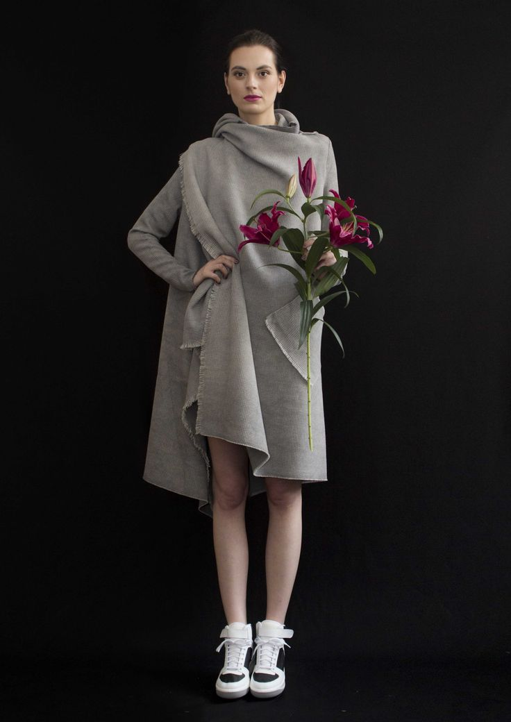 REETIMEE 20015 grey urban coat with pockets