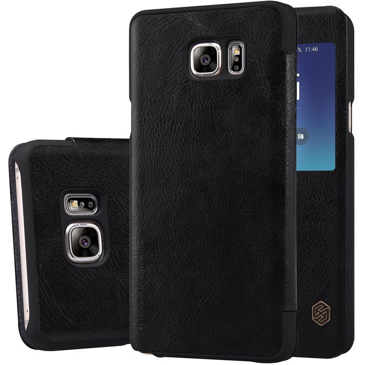 VINNY TM Nillkin Qin Royal #Leather #Bumper Flip Case #Cover Case with #Window #View for Samsung #Galaxy Note 5 N920 - #BALCK