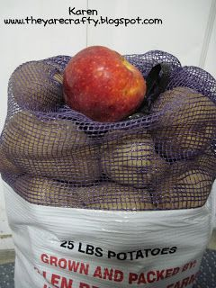 Storing Potatoes -  Here is a trick to help keep potatoes from budding- just place a couple of apples in with them- it works like magic!
